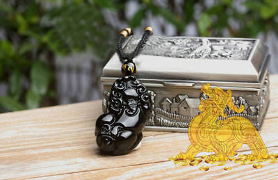 Chinese Natural Ice Black Agate Hand-Carved Bless Dragon Pixiu Pattern Pendant