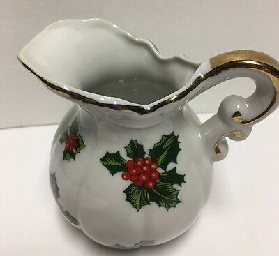 "Lefton China Holly Creamer Christmas China Hand Painted 7940 Small 3"" Pitcher"