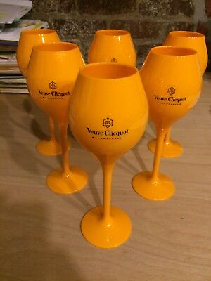 Veuve Clicquot VCP Yellow Label Acrylic Flute Glasses Brand New Set x 6
