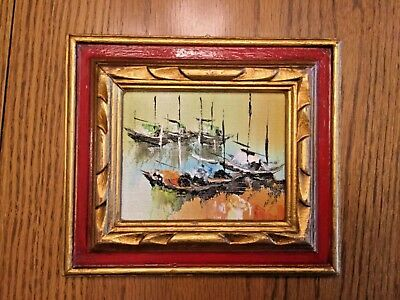 Vintage Impressionist BOATS original hand painted oil PAINTING small framed