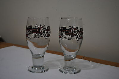 A pair Of Big Sharp Edge Beer footed glass - 6 3/8 inch tall - Nice