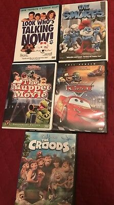 KIDS'FavoriteDVD- LOT Of 5-Cars,Smurfs,Croods, Muppets, Look Who's Talking now