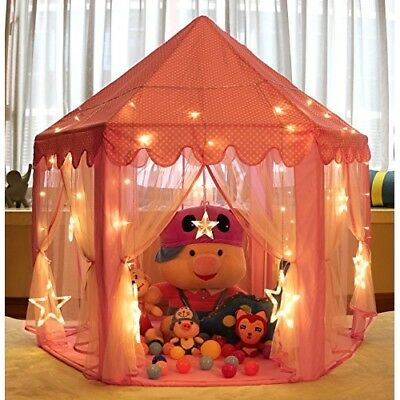 Princess Tent Girls Large Playhouse Kids Castle Play Tent with 20 ft Star Lights