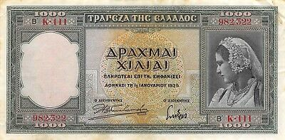 Greece 1000  Drachmai  1.1.1939 P 110a  Series K 111 Circulated Banknote LMSat
