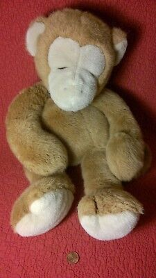 "18"" Vtg. Manhattan Toy BROWN TAN SLEEPING EYES CLOSED MONKEY plush stuffed 1987"