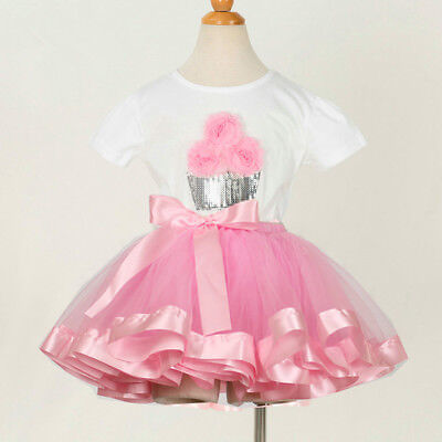 Girl's Cupcake Sequin Top T Shirt + Tutu Skirt Clothing Set Outfit Pink White