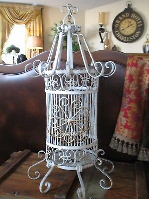 Unique & Large Antique Wrought Iron Bird Cage Decor or Special Project - Heavy
