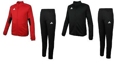 Adidas Youth Condivo 18 Training Suit Set Soccer Black Red Shirts Pants CF3685