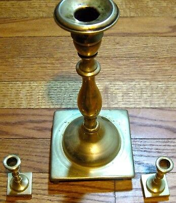 "1930s-Earlier: ANTIQUE BRASS CYLINDRICAL CANDLESTICK Weighty-10.5"" and Two-3.0"""