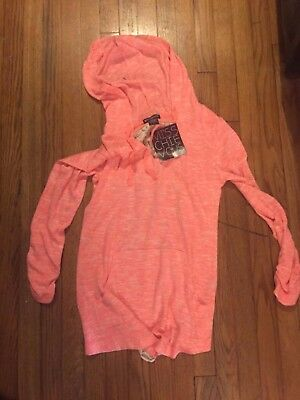 Womens Jr Crochet and lace chic orange hoodie with strings NWT size medium