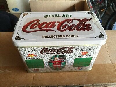 COCA-COLA Metal Tin Santa Claus Metal Art Collector Cards SEALED NEW