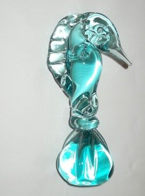 Vintage Blue Art Glass Seahorse Paperweight /Aqua Marine Ornament Figure