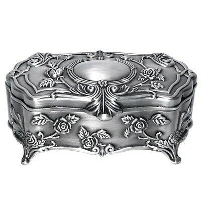 Pewter Plated Celebrity Wreath Oval Jewellery Box, with a little defect
