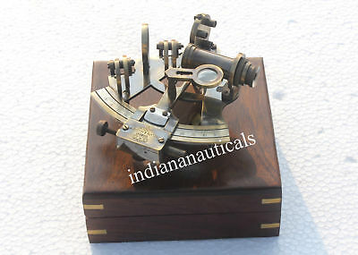 Nautical Collectible Vintage Brass Working Sextant W/wooden Box Best Gift Item.