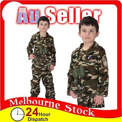 BOYS Army Costume Kids Military Soldier Camouflage Suit Fancy Dress Book Week