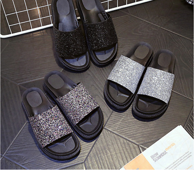 New Women's Glitter Sequins Sandals Slides Flats Slippers Beach Platform Shoes