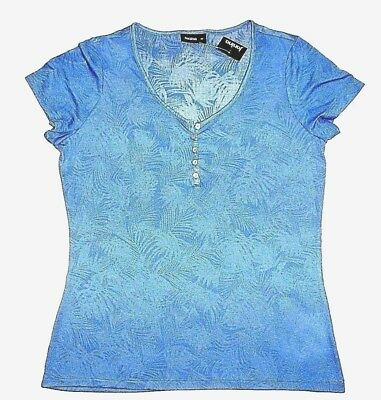 Modischees Women's Shirt T-Shirt u Cut out & Button Row Size 34-42 New