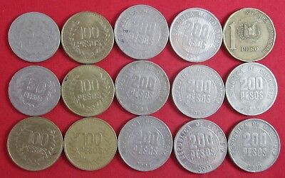 15 vintage Colombia coins