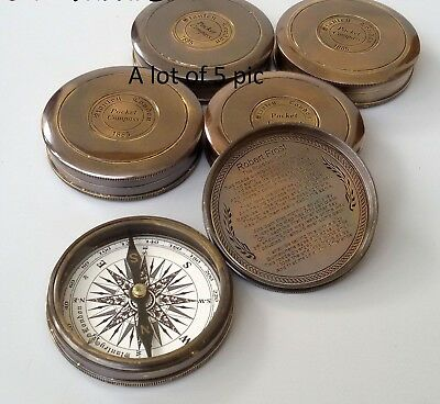 Antique Collectible Brass Poem Pocket Compass With Robert Frost Poem Inside 5pic