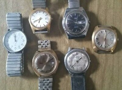 Lot of 6 vintage Timex not running battery watches.