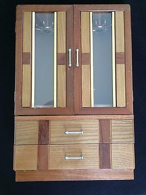 Vintage Wood Jewelry Armoire Chest Box w/ Glass Doors LARGE MCM ART DECO