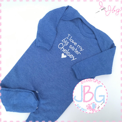 Personalised Baby Rompersuit, Embroidered Baby Boys Blue Sleepsuit Clothing