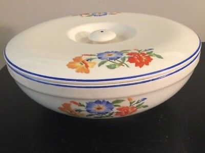 Universal Cambridge USA  Covered Casserole Bowl Orange & Blue Floral Design
