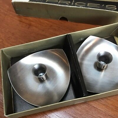 Vintage Boxed Pair Of Prices Stainless Steel Candle Holders Mid Century