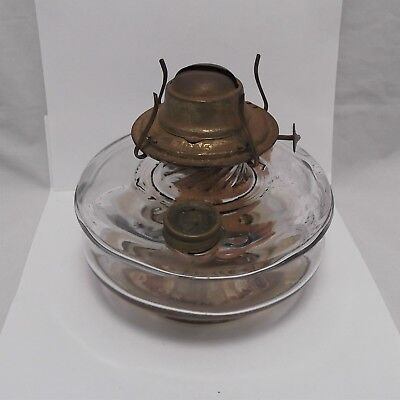 Vintage ANTIQUE GLASS OIL LAMP BASE WITH EAGLE BURNER