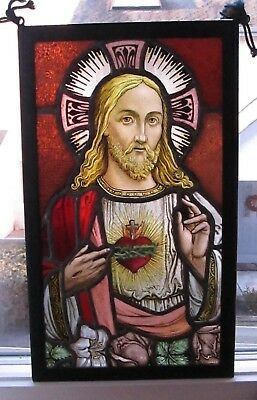 Antique Early Stained Glass Window Panel European - Church of Jesus