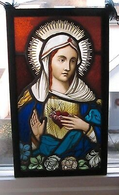 Antique Early Stained Glass Window Panel European - Church of Mary