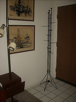 RARE VTG MID CENTURY MODERN TALL METAL FRENCH ATOMIC COAT STAND HAT RACK 1950's