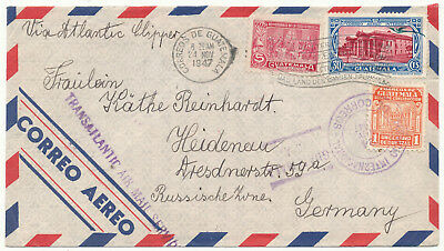 Guatemala # C108, C143, Ra21 Airmail Cover To East Germany (1947)