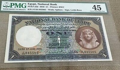 Egypt 1 Pound 1948 Sign Leith Ross PMG 45 Collectable