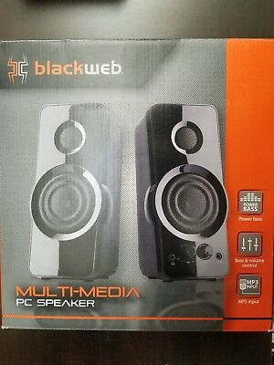 Blackweb Multi-Media PC Speaker w Power Bass Volume Control Aux Input Powerful
