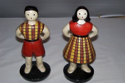 RARE CALIFORNIA Pottery CHALKWARE FIGURINES~ VINTAGE SYLVIA HOOD ORIGINAL SET