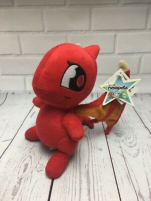 "2004 Shoyru Neopets 7"" Plush Doll RED Dragon Flying Wings"
