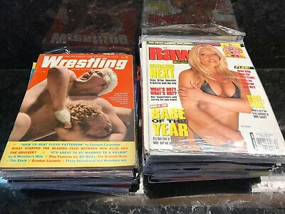 Lot of 48 Vintage Wrestling Magazines 1960s-2000s - WWF WWE RAW WCW