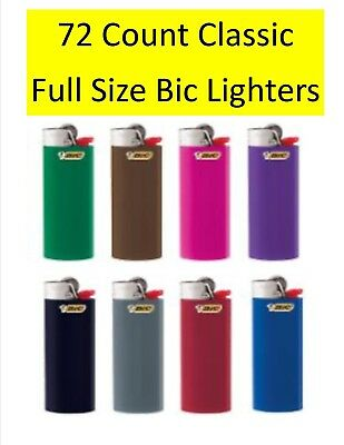 Bic Classic Cigarette Lighters Disposable Full Size Assorted Colors Pack of 72