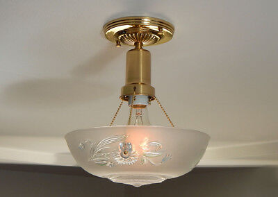 Beaded Polished Brass War Era Ceiling Light Vintage Glass Shade, New Fixture