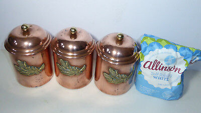 Vintage Copper & Brass Wheat Sheaf Flour Containers French Country Kitchen Trio