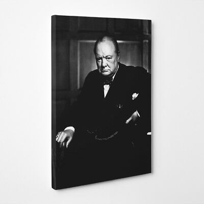 Sir Winston Churchill - 34X24 Inch Large Framed Canvas - Ww2 Britsh War Leader