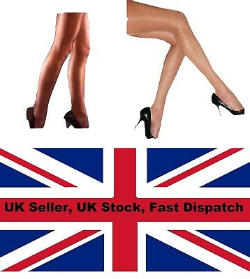 BLACK NATURAL GLOSSY GLASS LOOK SHINY NYLONS TIGHTS ONE SIZE 6 8 10 12 UK SELLER
