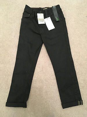 Next Boys Skinny Fit Black Jeans with Adjustable Waist, Age 5 - BNWT