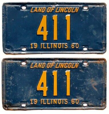 Illinois 1960 License Plate Pair, 411, Low Number, 3-Digit, Garage Sign