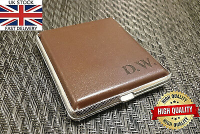 Laser Engraved Tobacco Cigarette Tin Case PU Leather Personalised Gift