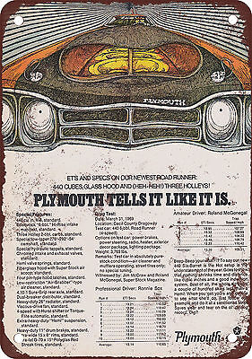 "9"" x 12"" Metal Sign - 1969 Plymouth Road Runner Specs - Vintage Look Reproductio"