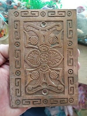 "Brass Ornate Decorative Door Plate Art Deco Victorian Old Hardware Floral 6""×4"""