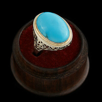 Antique Vintage Deco 14k White Gold 8.10 Ct Persian Turquoise Filigree Ring Sz 9