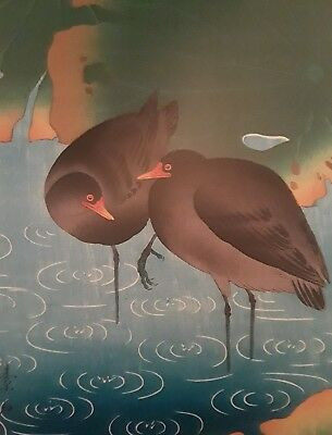 Japanese Print, Soseki Komori, Moorhens in the Rain